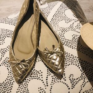 Shoes - Gold Quilted Ballet Slippers
